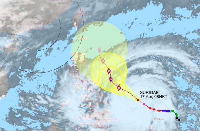 Topan SURIGAE diperkirakan Akan Meningkat Menjadi Super Topan dan Bergerak ke Timur Laut Filipina